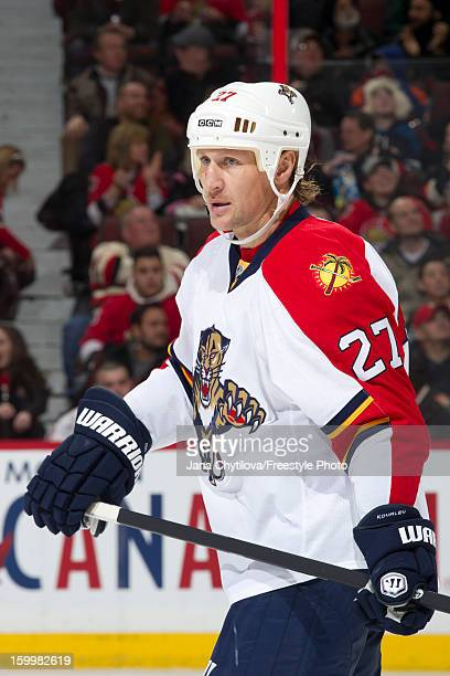 Alex Kovalev of the Florida Panthers looks on during a stoppage in play in a game against the Ottawa Senators at Scotiabank Place on January 21 2013...