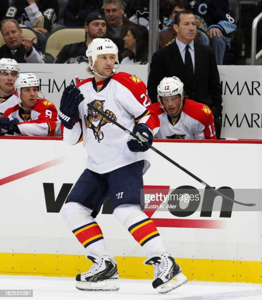 Alex Kovalev of the Florida Panthers skates against the Pittsburgh Penguins during the game at Consol Energy Center on February 22 2013 in Pittsburgh...