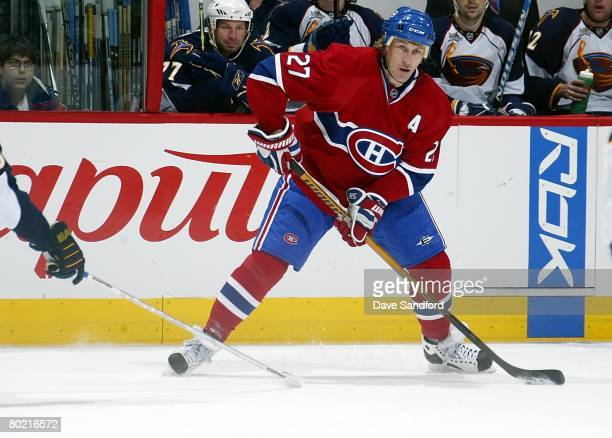 Alex Kovalev of the Montreal Canadiens skates against the Atlanta Thrashers during their NHL game at the Bell Centre on February 26 2008 in Montreal...