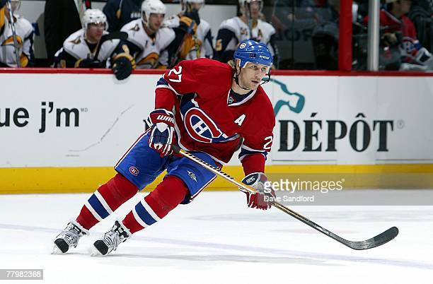Alex Kovalev of the Montreal Canadiens skates against the Buffalo Sabres during their NHL game at the Bell Centre November 5 2007 in Montreal Quebec