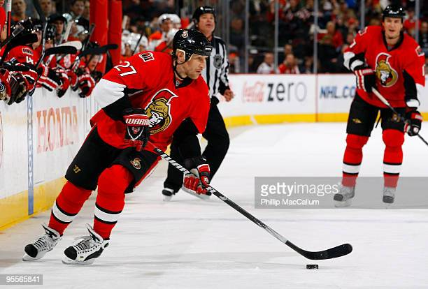 Alex Kovalev of the Ottawa Senators carries the puck up ice in a game against the Philadelphia Flyers at Scotiabank Place on January 3 2010 in Ottawa...