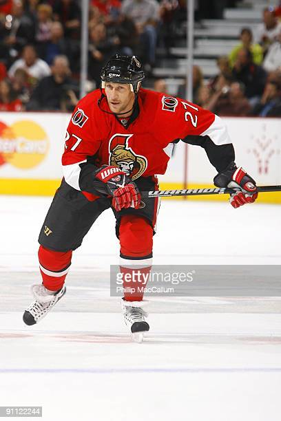 Alex Kovalev of the Ottawa Senators skates against the Montreal Canadiens during a preseason game at Scotiabank Place on September 19 2009 in Ottawa...