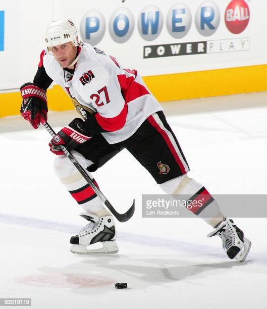 Alex Kovalev of the Ottawa Senators skates with the puck against the Philadelphia Flyers on November 12 2009 at the Wachovia Center in Philadelphia...