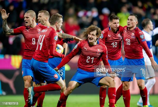 Alex Kral of the Czech Republic celebrates with teammates during the UEFA Euro 2020 Qualifier between Czech Republic and Kosovo on November 14, 2019...