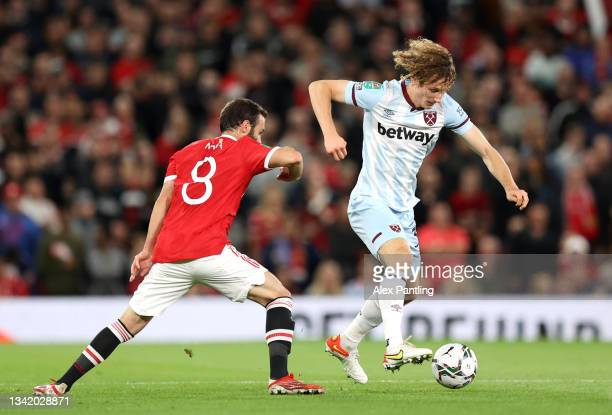 Alex Kral of West Ham takes on Juan Mata of Manchester United during the Carabao Cup Third Round match between Manchester United and West Ham United...