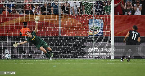 Alex Krieger of USA scores a penalty goal against goalkeeper Andreia of Brazil during the FIFA Women's World Cup quarter final match between Brazil...