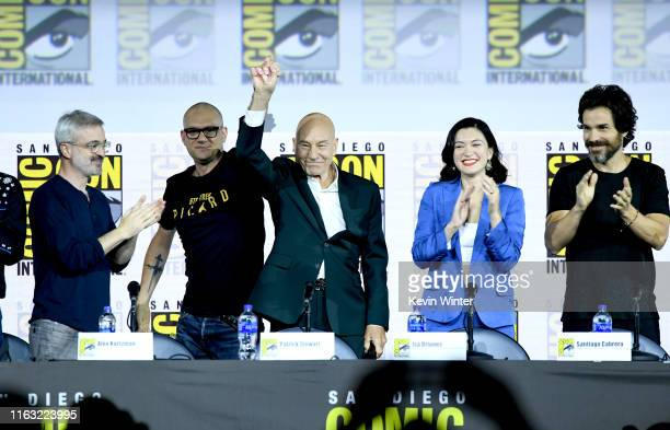 Alex Kurtzman Dominic Patten Patrick Stewart Isa Briones and Santiago Cabrera speak at the Enter The Star Trek Universe Panel during 2019 ComicCon...
