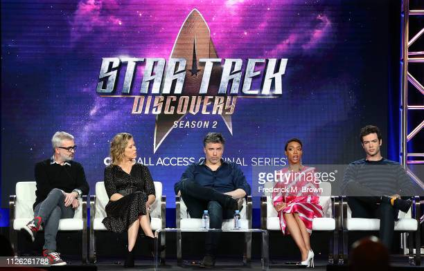 "Alex Kurtzman, Hreather Kadin, Anson Mount, Sonequa Martin-Green, and Ethan Peck of the television show ""Star Trek: Discovery"" speak during the CBS..."