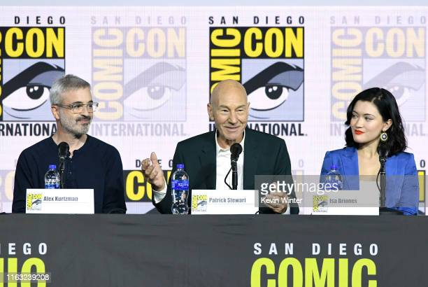 Alex Kurtzman Patrick Stewart and Isa Briones speak at the Enter The Star Trek Universe Panel during 2019 ComicCon International at San Diego...