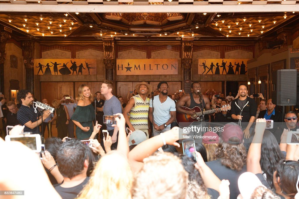 Alex Lacamoire, Julia K. Harriman, Rory O'Malley, Keenan D. Washington, Michael Luwoye, Joshua Henry, and Lin-Manuel Miranda perform onstage during the #Ham4Ham featuring Lin-Manuel Miranda at the Pantages Theatre on August 16, 2017 in Hollywood, California.