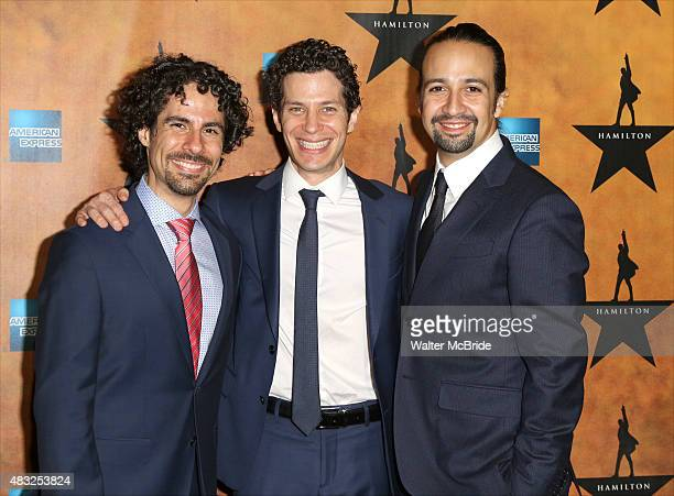 Alex Lacamoire, Thomas Kail and Lin-Manuel Miranda attend the 'Hamilton' Broadway Opening Night After Party at Pier 60 on August 6, 2015 in New York...