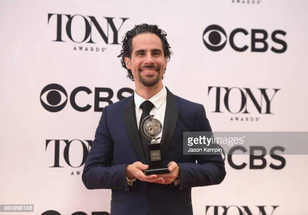 "Alex Lacamoire, winner of the award for Best Orchestrations for ""Dear Evan Hansen,"" poses in the press room during the 2017 Tony Awards at 3 West..."