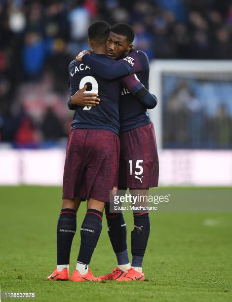 Alex Lacazette and Ainsley MaitlandNiles of Arsenal after the Premier League match between Huddersfield Town and Arsenal FC at John Smith's Stadium...