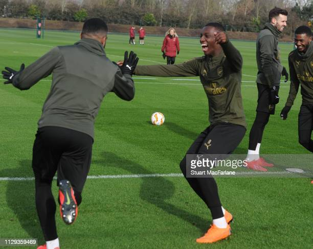 Alex Lacazette and Ainsley MaitlandNiles of Arsenal during a training session at London Colney on February 13 2019 in St Albans England