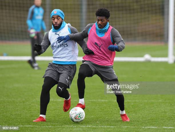 LR Alex Lacazette and Ainsley MaitlandNiles of Arsenal during a training session at London Colney on January 23 2018 in St Albans England