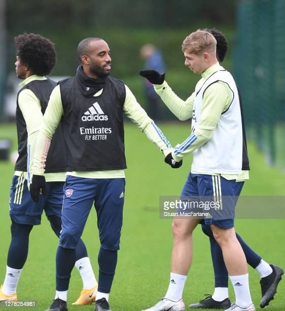 Alex Lacazette and Emile Smith Rowe of Arsenal during a training session at London Colney on October 03 2020 in St Albans England