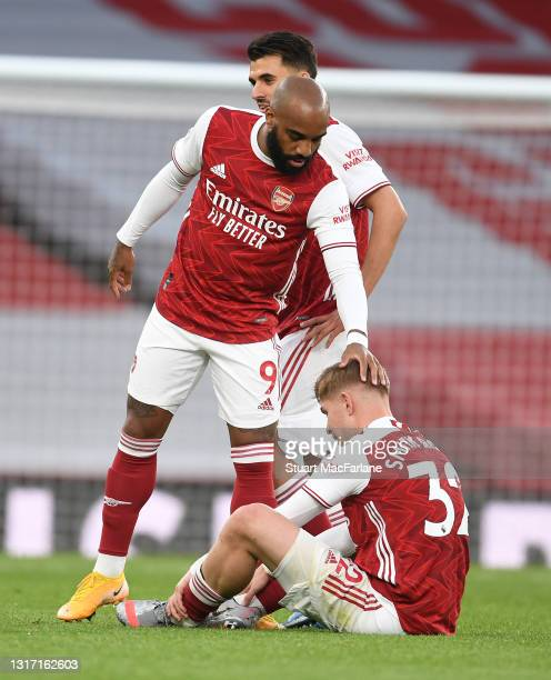 Alex Lacazette and Emile Smith Rowe of Arsenal during the Premier League match between Arsenal and West Bromwich Albion at Emirates Stadium on May...