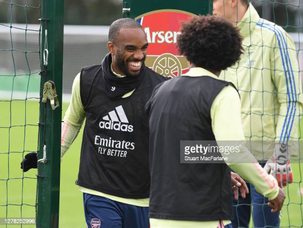 Alex Lacazette and Willian of Arsenal during a training session at London Colney on October 03 2020 in St Albans England