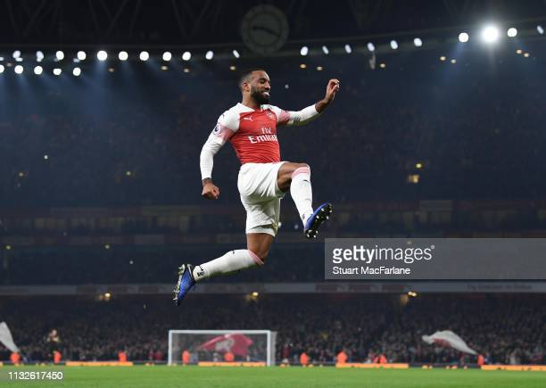 Alex Lacazette celebrates scoring the 5th Arsenal goal during the Premier League match between Arsenal FC and AFC Bournemouth at Emirates Stadium on...