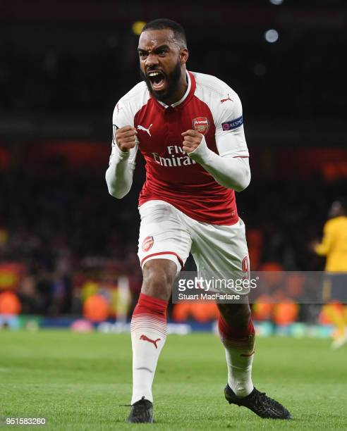 Alex Lacazette celebrates scoring the Arsenal goal during the UEFA Europa League Semi Final leg one match between Arsenal FC and Atletico Madrid at...