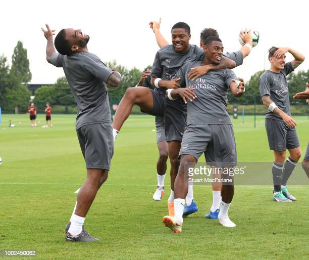 Alex Lacazette Chuba Akpom and Jeff ReineAdelaide of Arsenal during a training session at London Colney on July 20 2018 in St Albans England