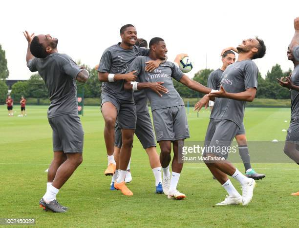 Alex Lacazette Chuba Akpom Jeff ReineAdelaide and PierreEmerick Aubameyang of Arsenal during a training session at London Colney on July 20 2018 in...