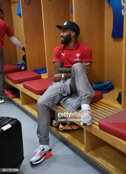 Alex Lacazette in the Arsenal changing room before the Emirates Cup match between Arsenal and SL Benfica at Emirates Stadium on July 29 2017 in...