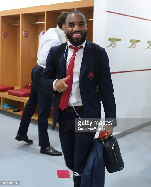 Alex Lacazette in the Arsenal changing room before the Premier League match between Arsenal and Liverpool at Emirates Stadium on December 22 2017 in...