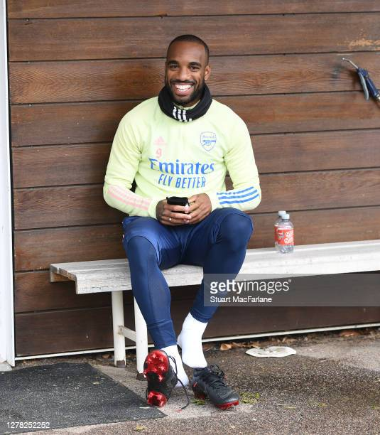 Alex Lacazette of Arsenal after a training session at London Colney on October 03 2020 in St Albans England