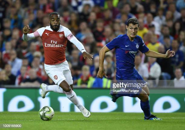 Alex Lacazette of Arsenal breaks past Andreas Christensen of Chelsea during the Preseason friendly between Arsenal and Chelsea on August 1 2018 in...
