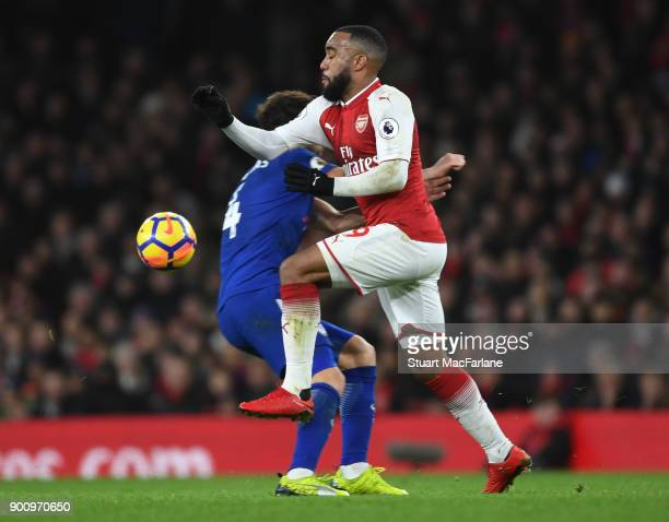 Alex Lacazette of Arsenal challenged by Andreas Christensen of Chelsea during the Premier League match between Arsenal and Chelsea at Emirates...
