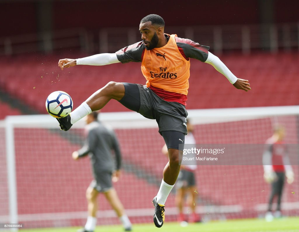 Alex Lacazette of Arsenal during a training session at Emirates Stadium on August 3, 2017 in London, England.