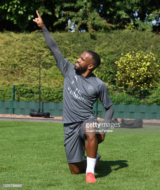 Alex Lacazette of Arsenal during a training session at London Colney on September 1 2018 in St Albans England