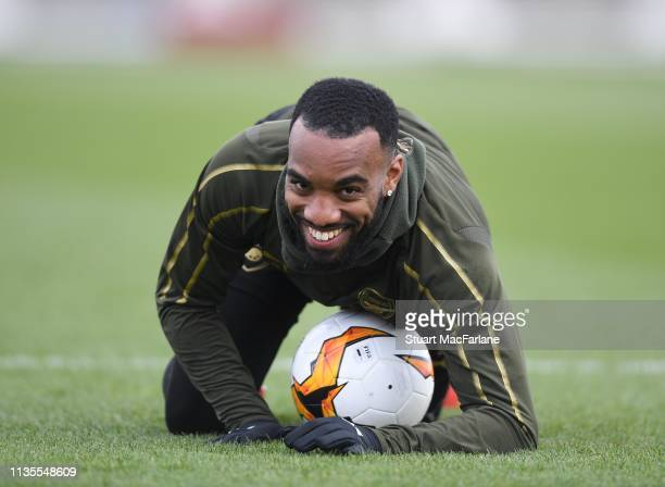 Alex Lacazette of Arsenal during a training session at London Colney on March 13 2019 in St Albans England