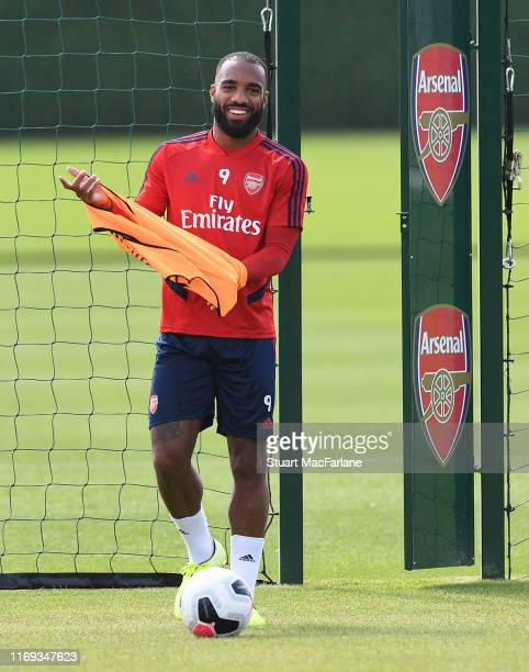 Alex Lacazette of Arsenal during a training session at London Colney on August 21, 2019 in St Albans, England.