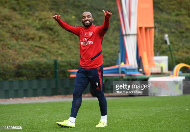 Alex Lacazette of Arsenal during a training session at London Colney on October 20 2019 in St Albans England