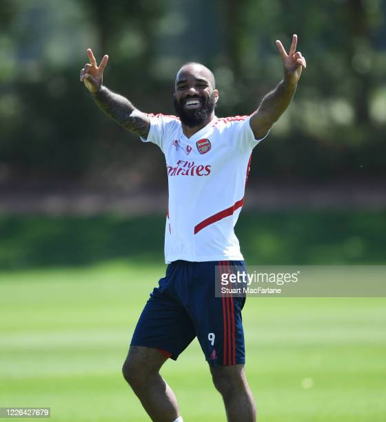 Alex Lacazette of Arsenal during a training session at London Colney on May 22, 2020 in St Albans, England.