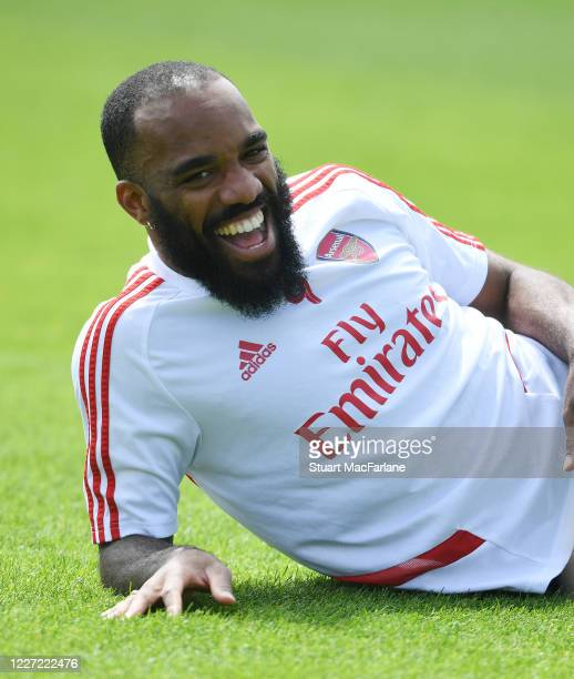 Alex Lacazette of Arsenal during a training session at London Colney on May 26 2020 in St Albans England