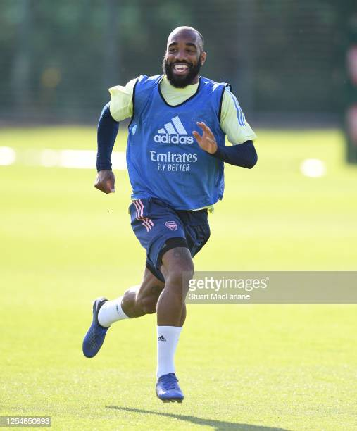 Alex Lacazette of Arsenal during a training session at London Colney on July 06, 2020 in St Albans, England.