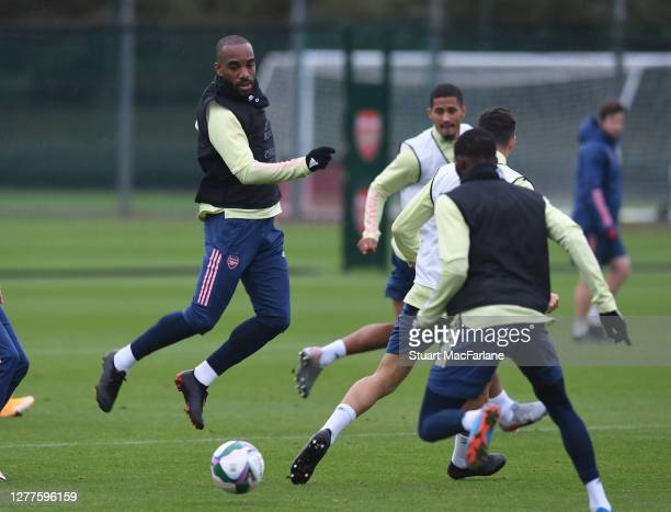 Alex Lacazette of Arsenal during a training session at London Colney on September 30 2020 in St Albans England