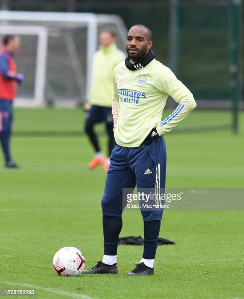 Alex Lacazette of Arsenal during a training session at London Colney on October 03 2020 in St Albans England