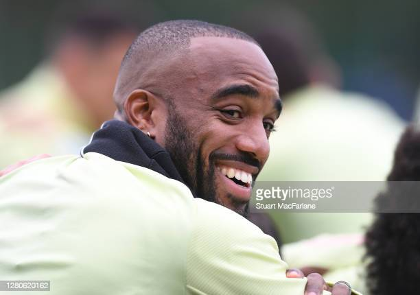 Alex Lacazette of Arsenal during a training session at London Colney on October 16 2020 in St Albans England