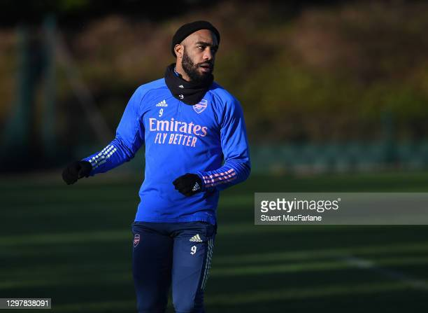 Alex Lacazette of Arsenal during a training session at London Colney on January 22, 2021 in St Albans, England.