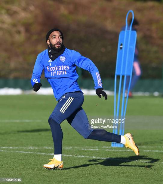 Alex Lacazette of Arsenal during a training session at London Colney on January 25, 2021 in St Albans, England.