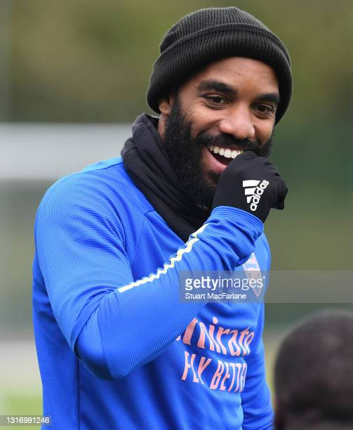 Alex Lacazette of Arsenal during a training session at London Colney on May 08, 2021 in St Albans, England.