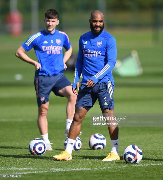 Alex Lacazette of Arsenal during a training session at London Colney on May 11, 2021 in St Albans, England.