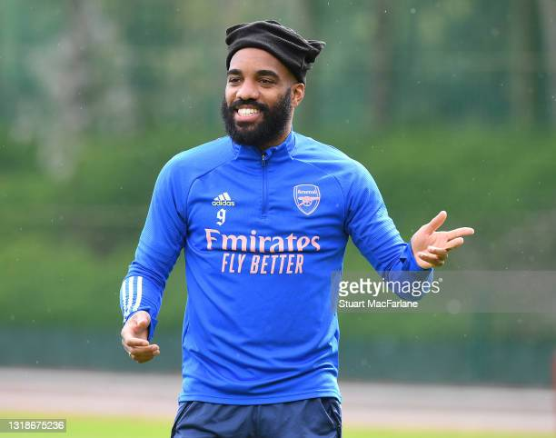 Alex Lacazette of Arsenal during a training session at London Colney on May 18, 2021 in St Albans, England.