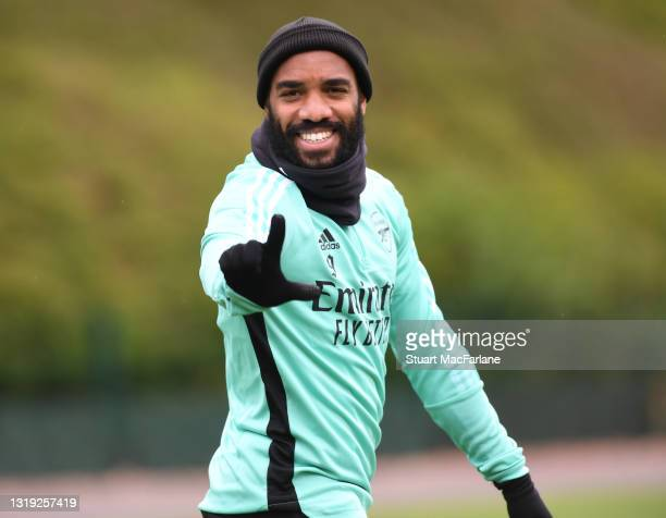 Alex Lacazette of Arsenal during a training session at London Colney on May 21, 2021 in St Albans, England.
