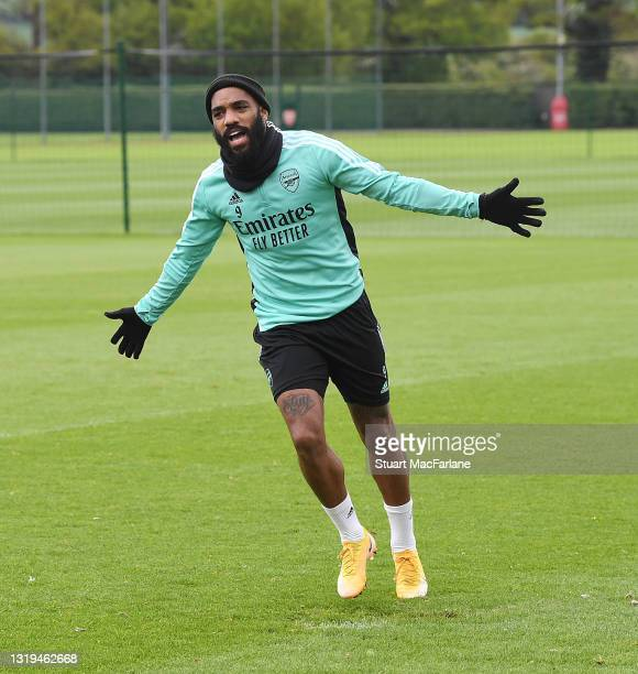 Alex Lacazette of Arsenal during a training session at London Colney on May 22, 2021 in St Albans, England.