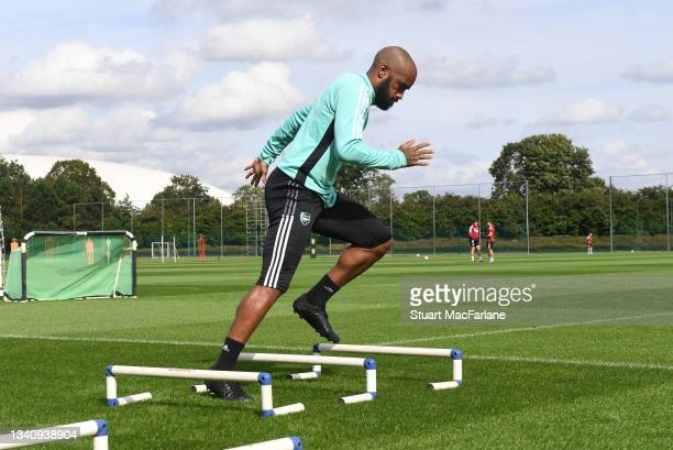 Alex Lacazette of Arsenal during a training session at London Colney on September 17, 2021 in St Albans, England.
